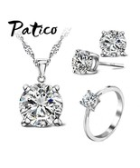 Top Quality 925 Sterling Silver  Clear CZ 4 Claw Pendant Jewelry Sets Fo... - $12.79
