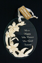 Keepsake ornament by Roman Glass Floral He is Happy Who Knows His Good F... - $11.84