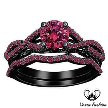1.75 CT Round Cut Pink Sapphire Infinity Style Wedding Ring Set 925 Pure Silver - $102.98