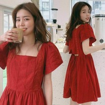 New Square Short Sleeve Thin Waist Japan Style A-Line Knee-Length Women'... - $35.96