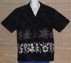RJC Hawaiian Shirt Black with Palm Trees Tropical Flowers Size XL - $21.77