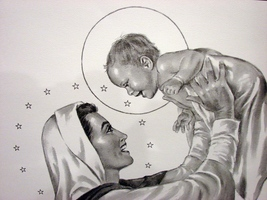 George Pollard Print Madonna Holding Up Laughing Baby Jesus~ Hard To Fin... - $7.99