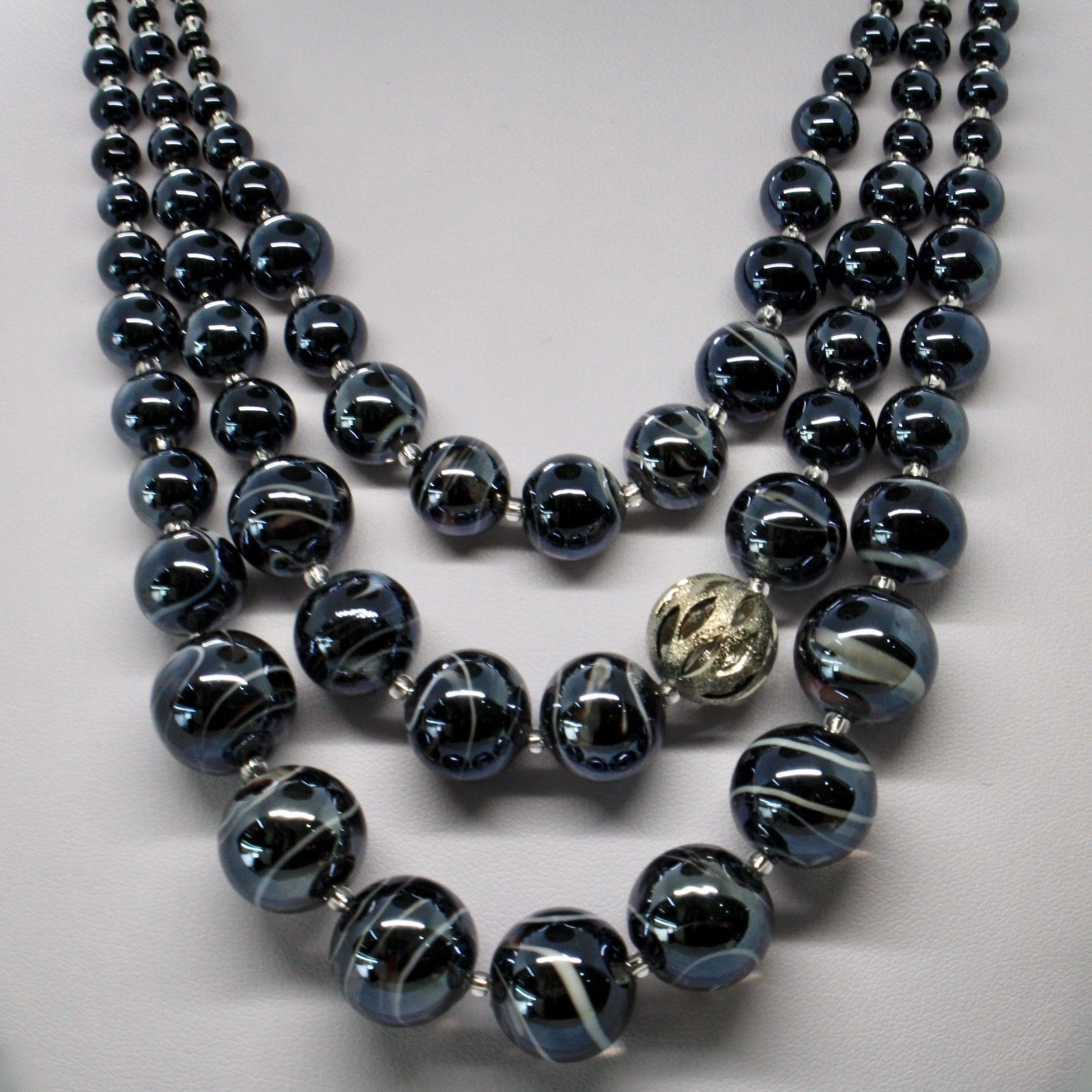 NECKLACE 3 FILI ANTICA MURRINA VENEZIA WITH MURANO GLASS BLACK GREY CO886A14
