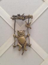 Vintage JJ Jonette Jewelry Gold Tone Cat On Swing Fashion Brooch - $35.00