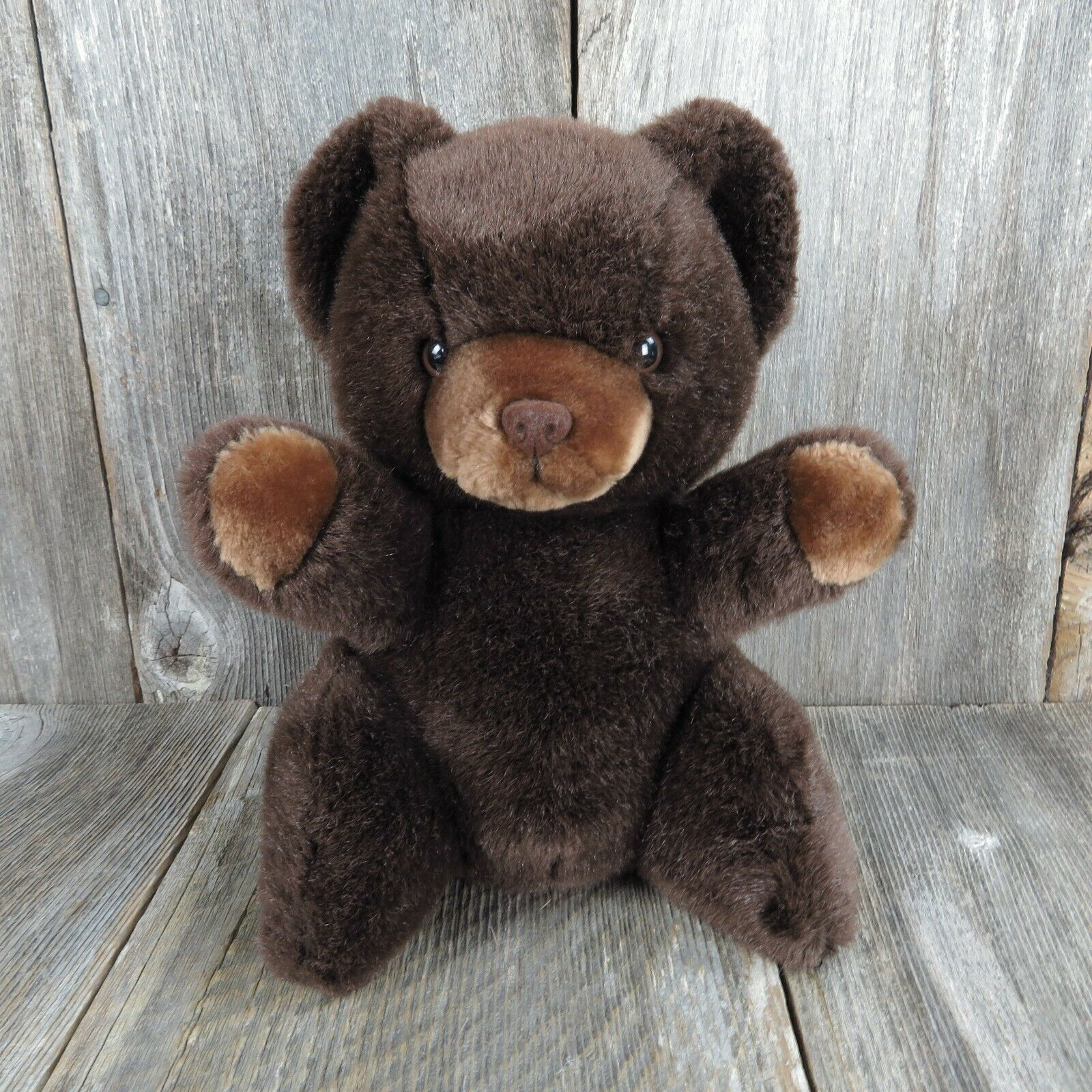 Primary image for Vintage Teddy Bear Plush Brown Flocked Nose Russ Grizzly Love Pet Stuffed Animal