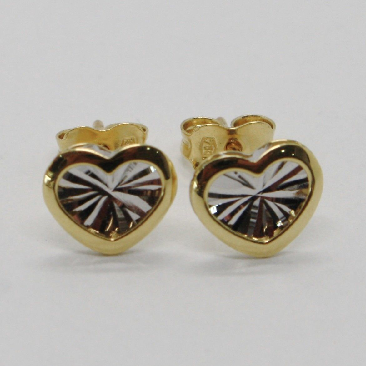 18K WHITE YELLOW GOLD HEART EARRINGS FINELY WORKED, DOUBLE RAYS STAR, ITALY MADE