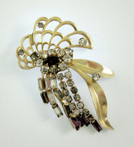 Phyllis Pin Brooch Gold Filled Amethyst Rhinestone Abstract Butterfly Vi... - $19.54