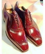 Men's Maroon Red Medallion Toe Handcrafted Magnificent Leather Lace up Shoes - $99.90 - $139.99