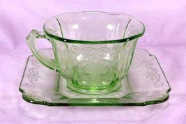 Indiana Glass 1932 Lorain Green Cup And Saucer Set - $12.14