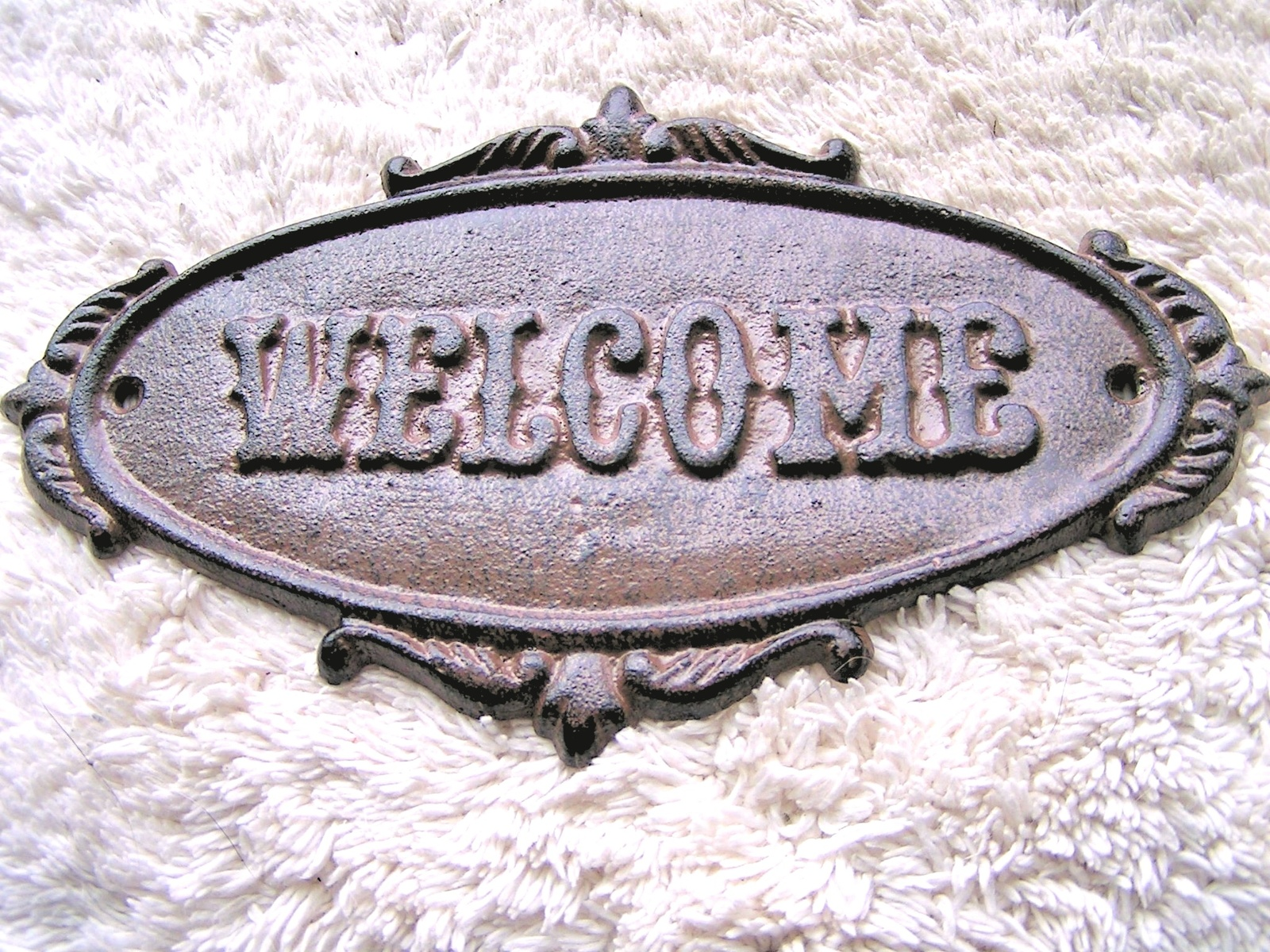 Primary image for Cast Iron Victorian Style WELCOME Plaque Sign Wall or Door Decor Indoor Outdoor