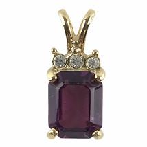 Women's Purple Stone Faux Diamond Goldtone Costume Jewelry Necklace Pendant - $11.26