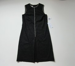 NWT Anne Klein Black Linen Contrast Piped Pleated A-line Fit & Flare Dre... - $26.99