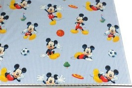 Disney Blue Striped Mickey Mouse Football 100% Cotton Fabric Material 3 ... - $3.07+