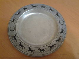 """Vintage Pewtarex Pewter Plate with Horses & Horseshoes 5 .75"""" in diameter - $18.00"""