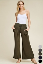 'New' Women's Relaxed High Rise Front Tie Pants. P9049-OL - $19.50+