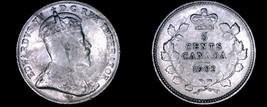 1902 Canada 5 Cent World Silver Coin - Canada - Edward VII - $19.99