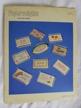 Vtg 1980 Counted Cross Stitch PAPERWEIGHTS 10 Design Pattern Book Pat Wa... - $12.65