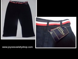 Sonoma Navy Blue Jean Capris NWT SZ 16 Red White & Blue Belt - $16.99