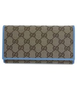Gucci GG Canvas Beige Mineral Blue Calf Leather Continental Flap Wallet - $800.00