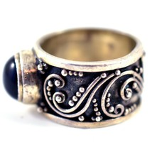 925 Sterling Silver Filigree Design Cabochon Onyx Thick Chunky Band Ring 5.75 image 2