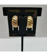 Gold Tone Hoop Earrings Clip on Vintage - $12.86