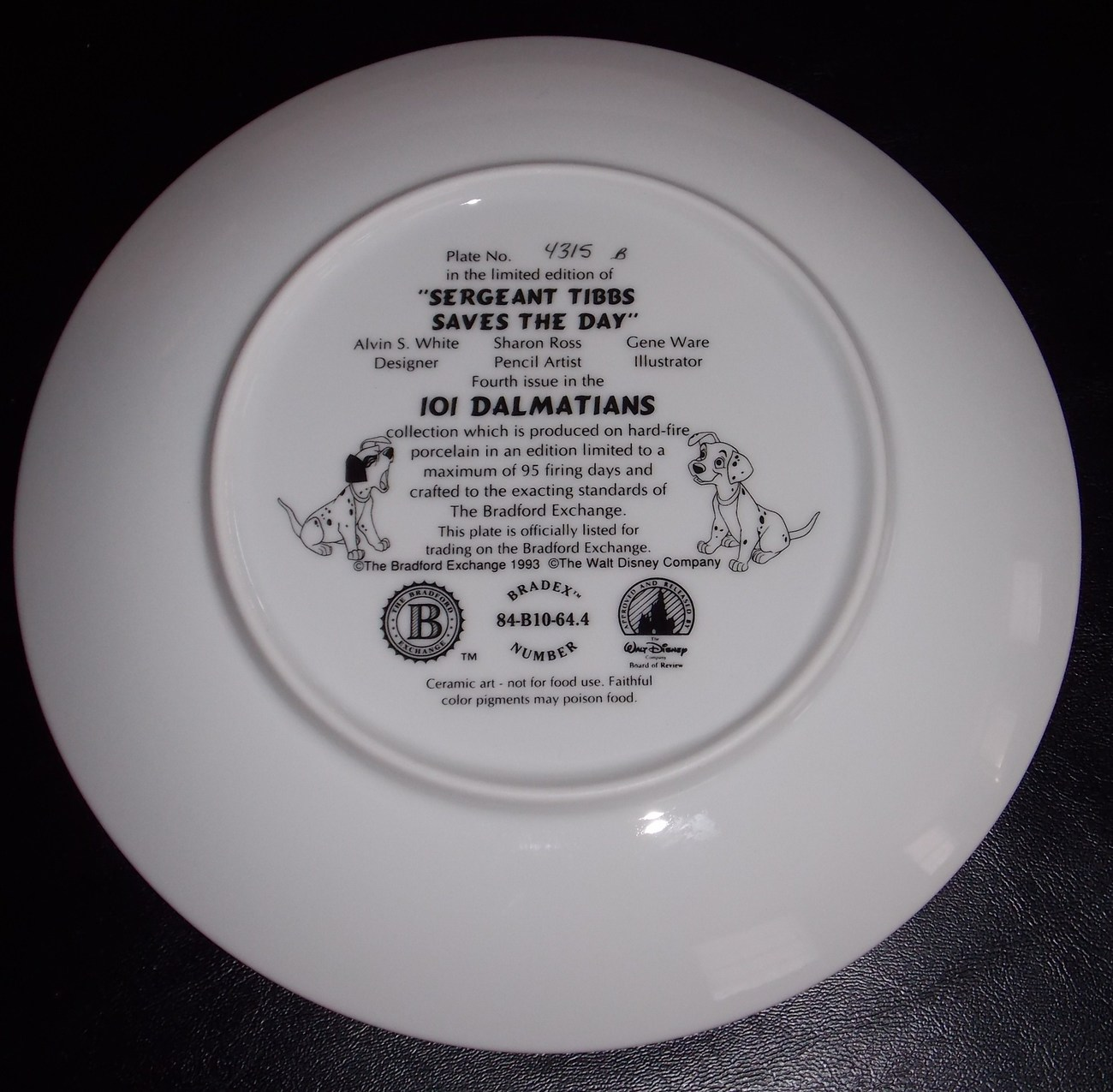 Disney 101 Dalmations Sergeant Tibbs Saves The Day Collector Plate & Certificate
