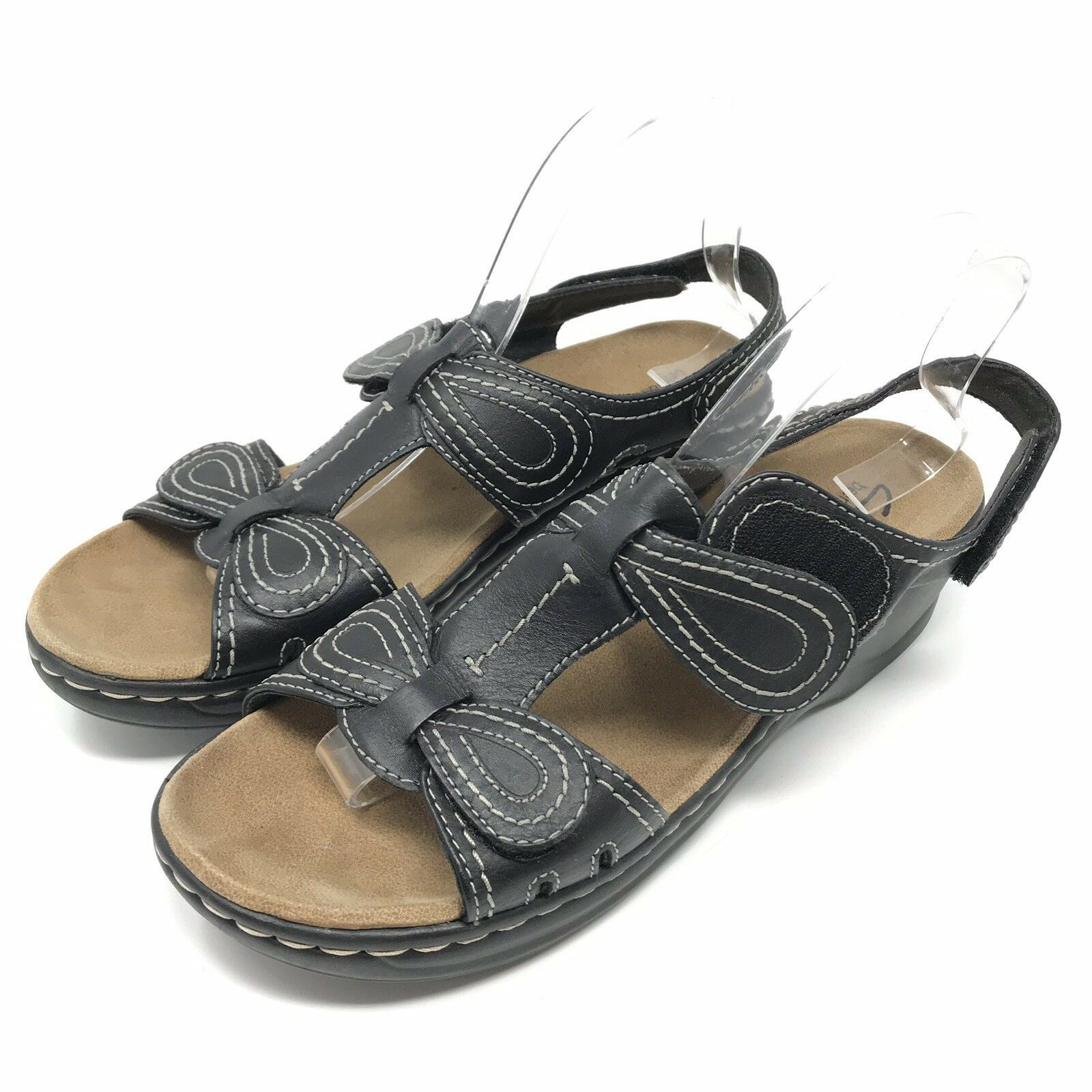 2a2fc11b67edab Clarks Bendables Womens Shoes Size 10 Black Leather Comfort Sandals Open  Toe -  14.84