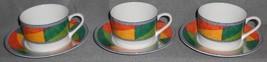 Set (3) Mikasa Ultima Color Scheme Pattern Cups/Saucers - $19.79