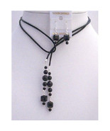Black Pearls Crystals Leather Lariat Necklacev Jet Crystal Necklace Earr... - $27.00