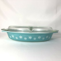 VTG Pyrex Turquoise Snowflake Divided Dish Lid 1.5 QT Oval Casserole Cov... - $28.66