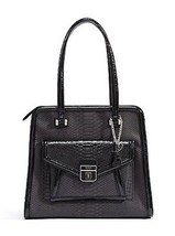 Guess Satchel Black Anafi Style PY376222 Python-embossed MSRP $128 NWT - $79.99