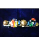 Multi-color Glass & Gold Plate Beaded Barrette - $3.50