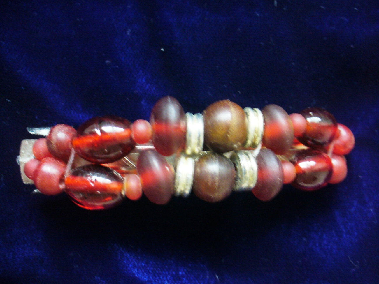 Red Glass & Wood Beads Barrette