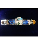 Southwest Bead with Amber & Blue Glass Beaded Barrette - $4.00
