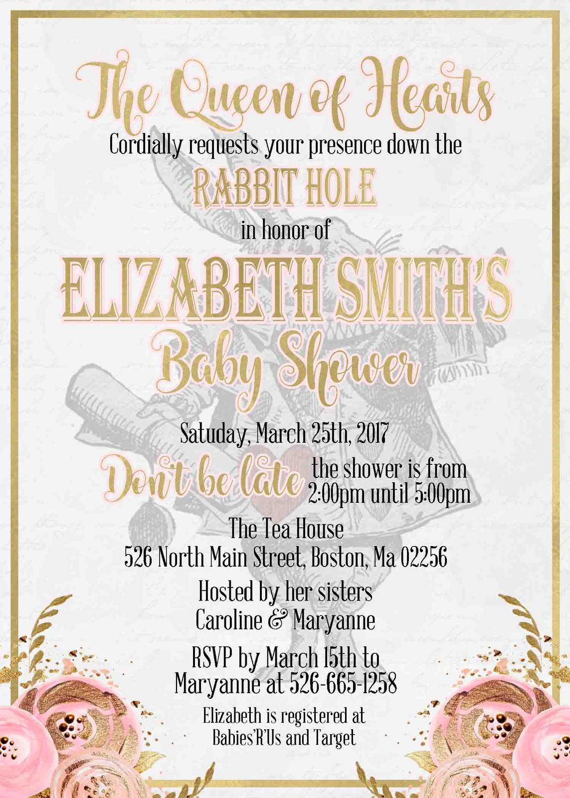 Alice in Wonderland Baby Shower Invitation and 50 similar items
