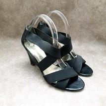 "Bandolino Womens Hola  Size 9.5 Black  Textile Strappy 3.5"" Heels - $21.99"