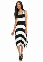 NWT SPENSE WHITE BLACK STRIPES VISCOSE MAXI DRESS SIZE L $80 - $29.99