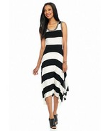 NWT SPENSE WHITE BLACK STRIPES VISCOSE MAXI DRESS SIZE L $80 - $29.99