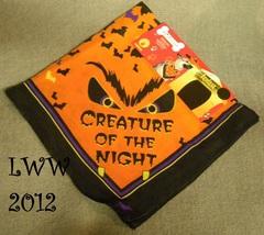 Spooky Dog Creature of the Night Eyes Bats Fangs Halloween Bandana Scarf - $2.99