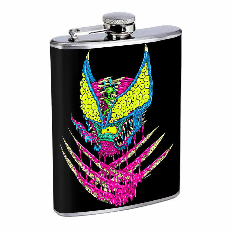 Creepy Cartoon Zombie Em1 Flask 8oz Stainless Steel Hip Drinking Whiskey
