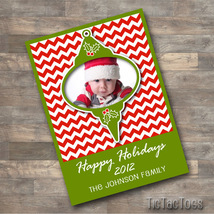 SPECIAL - Christmas Bulb Photo Chevron Personalized Customized Card You ... - $7.95