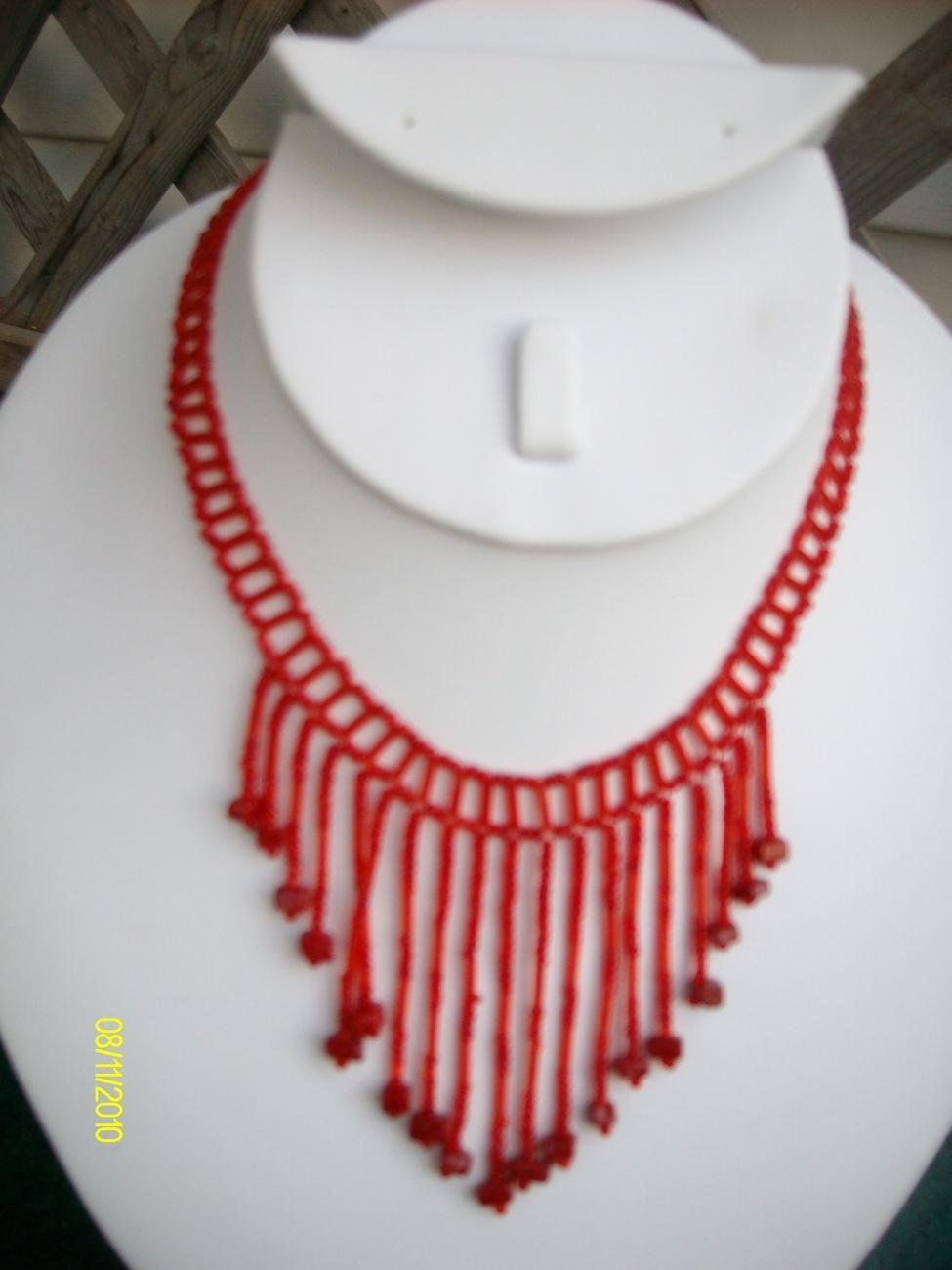 Red Beaded  Necklace Bonanza