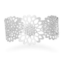 Cut Out Flower with CZ Design Sterling Silver Cuff Bracelet with Satin F... - $149.94