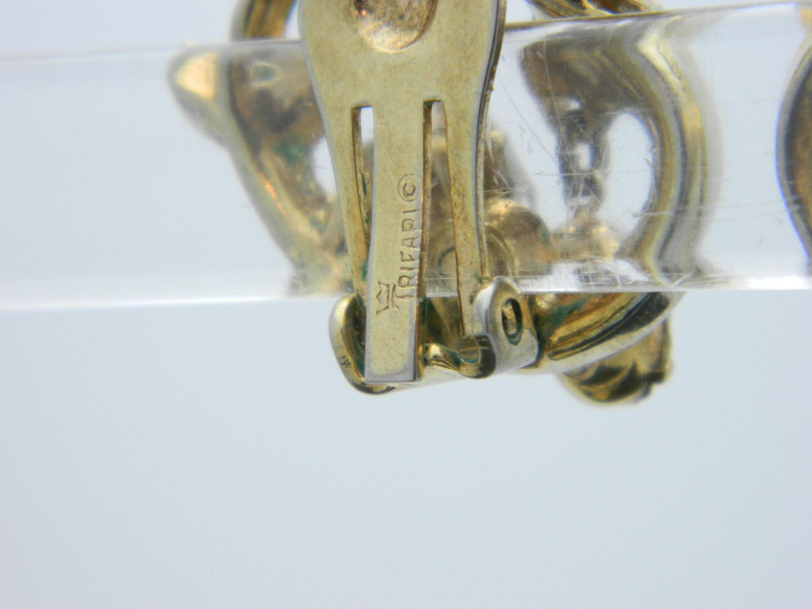 Crown TRIFARI RARE Clear Rhinestone Gold Tone Clip-On Earrings Rare Vintage