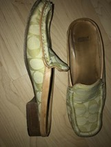 COACH Size 6 Women's Green Apple PAGE SIGnature Jacquard Slide Loafer - $14.85