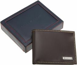 NEW TOMMY HILFIGER MEN'S LEATHER CREDIT CARD ID WALLET BILLFOLD BROWN 31TL22X053 image 5