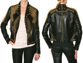 REAL SOFT LEATHER WOMEN FASHION JACKETS GOLD STUDDED LEATHER SLIM FIT JA... - $189.99+