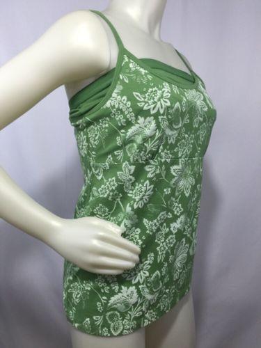 Spaghetti Strap Workout Top Activewear Women's Green Size 8/10 M Cotton Spandex