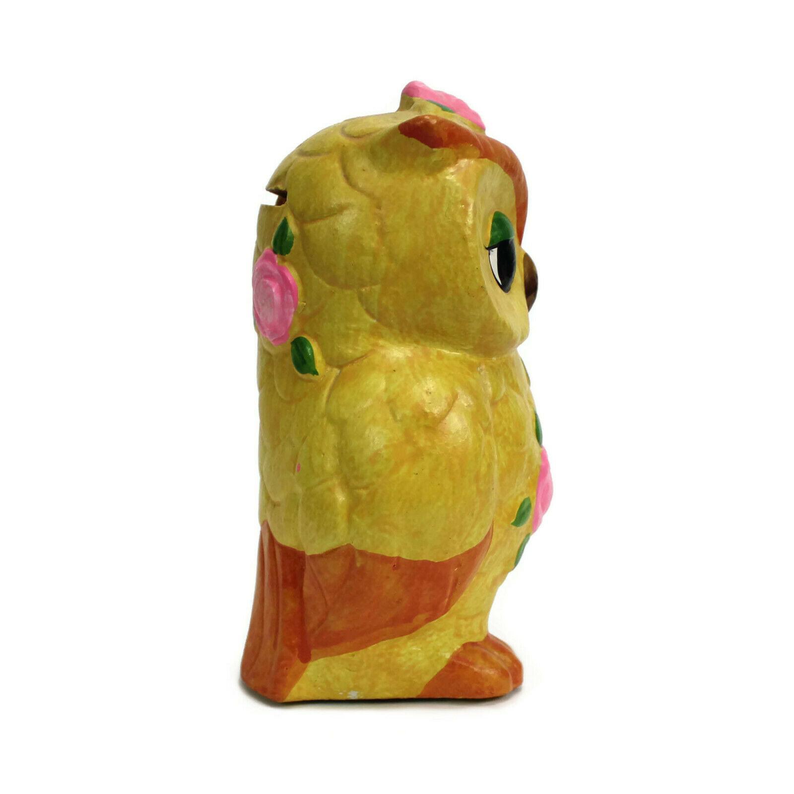 "Retro OWL Piggy Bank | Vintage Mid Century Kitsch | 6"" High | Handpainted"