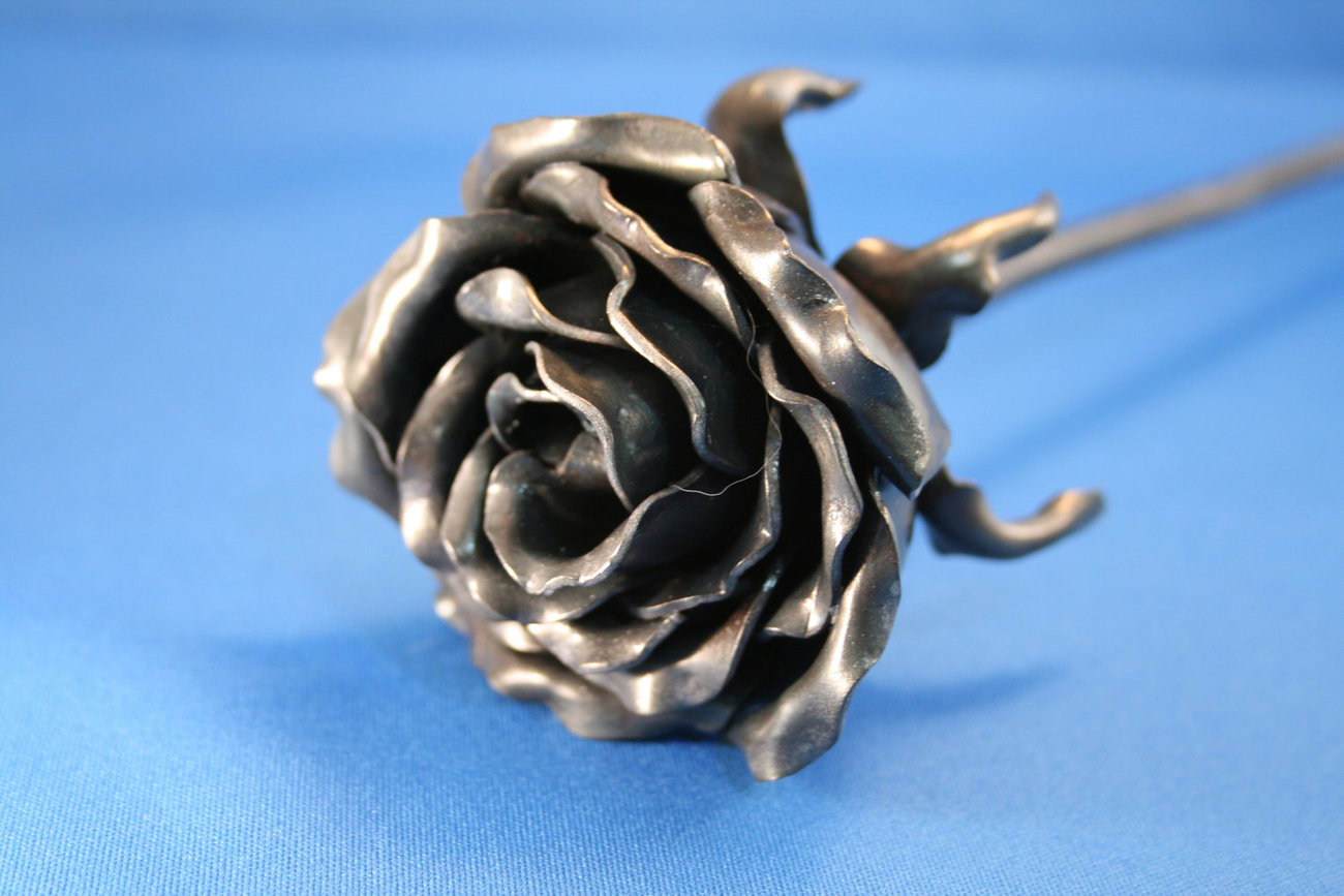 6th Wedding Anniversary Traditional Gifts: FOREVER ROSE Forged Iron 6th Wedding Anniversary Gift